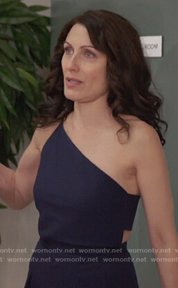Abby's blue one shoulder waist cutout jumpsuit on Girlfriends Guide to Divorce