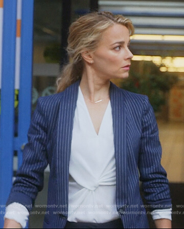 Lizzie's navy pinstripe blazer on Instinct