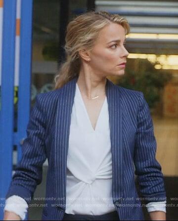 Lizzie's navy pinstripe blazer on Instinct