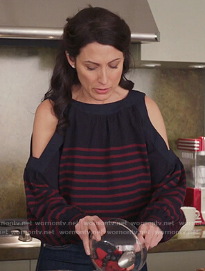 Abby's navy striped cold shoulder top on Girlfriends Guide to Divorce