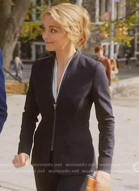 Lizzie's navy zip front blazer on Instinct