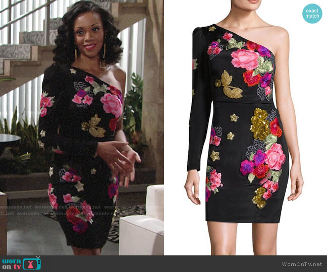 Nicole Miller Flora and Fauna Dress worn by Mishael Morgan on The Young & the Restless