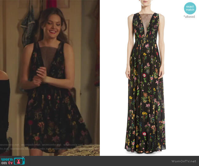 Sleeveless Floral-Print Long Evening Gown by No. 21  worn by Meghann Fahy on The Bold Type
