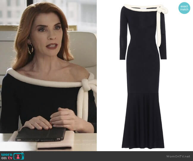 Long-sleeved wool dress by Oscar de la Renta worn by Kitty Montgomery (Julianna Margulies) on Dietland