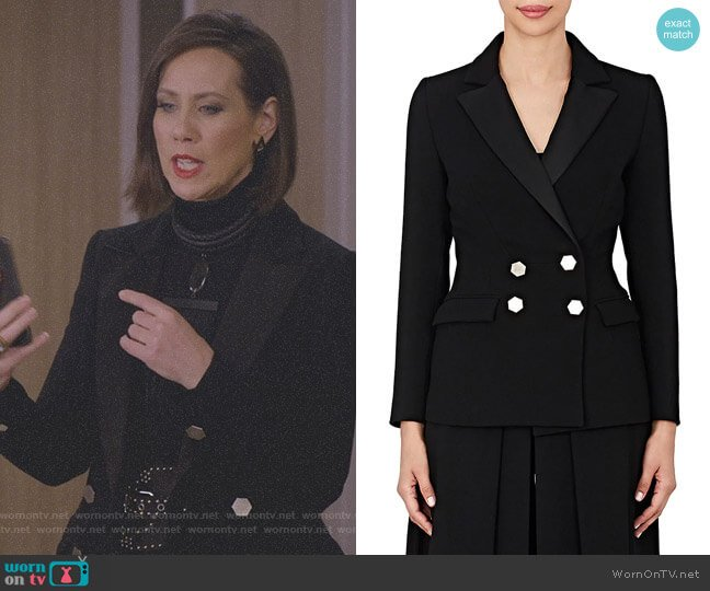 Ruby Suppressed-Waist Wool Blazer by Osman worn by Diana Trout (Miriam Shor) on Younger
