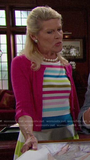 Pam's rainbow striped dress on The Bold and the Beautiful