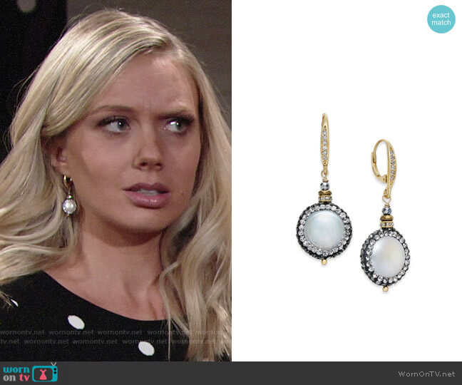 Paul & Pitü Naturally Two-Tone Freshwater Pearl & Crystal Pavé Drop Earrings worn by Abby Newman (Melissa Ordway) on The Young & the Restless