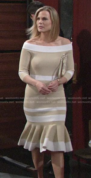 Phyllis's beige striped off-shoulder midi dress on The Young and the Restless