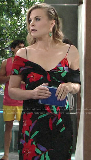 Phyllis's black floral maxi dress on The Young and the Restless
