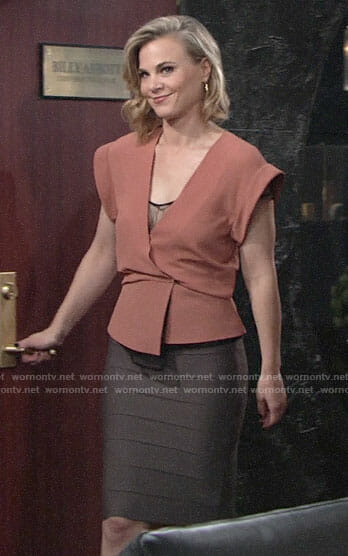 Phyllis's coral wrap top and bandage skirt on The Young and the Restless