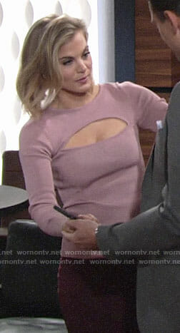 Phyllis's pink long sleeved top with cutout on The Young and the Restless