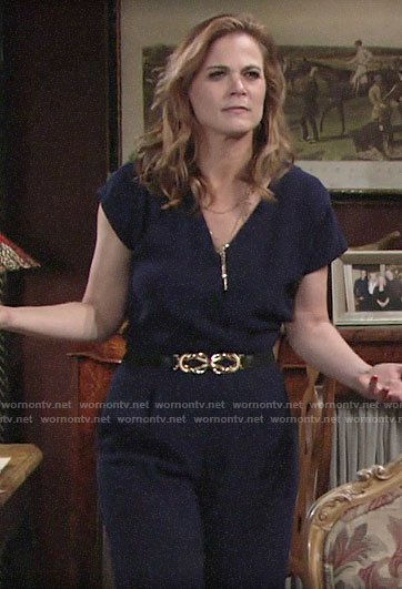 Phyllis's navy jumpsuit on The Young and the Restless