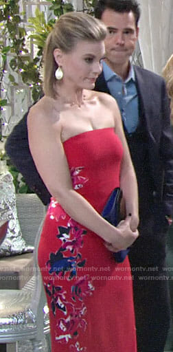 Phyllis's red floral strapless dress on The Young and the Restless