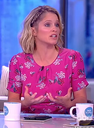 Sara's pink floral print dress on The View