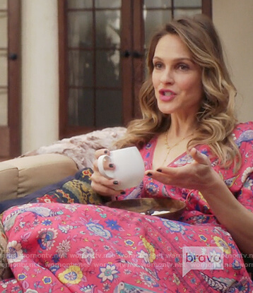 Phoebe's pink floral print maxi dress on Girlfriends Guide to Divorce