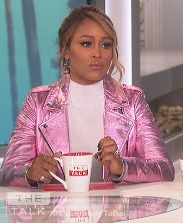 Eve's pink metallic moto jacket on The Talk