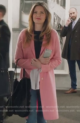 Sutton's pink single breasted wool coat on The Bold Type