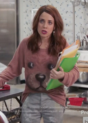 Jo's teddy bear sweatshirt on Girlfriends Guide to Divorce
