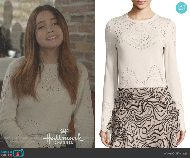 Pointelle Cotton Sweater by Derek Lam 10 Crosby worn by Bailee Madison on Good Witch