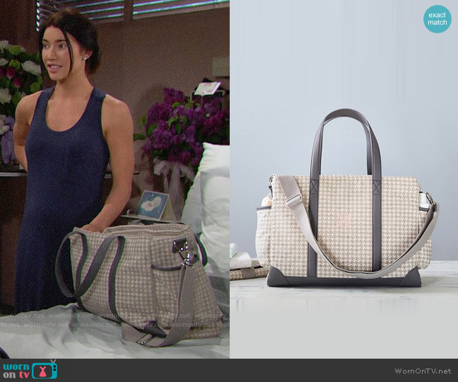 Pottery Barn Kids Houndstooth Classic Diaper Bag worn by Steffy Forrester (Jacqueline MacInnes Wood) on The Bold & the Beautiful