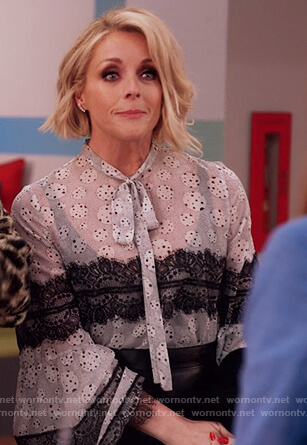 Jacqueline's printed lace trim blouse and leather mini skirt on Unbreakable Kimmy Schmidt