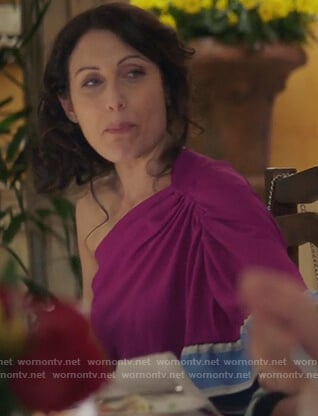 Abby's purple one off shoulder top on Girlfriends Guide to Divorce