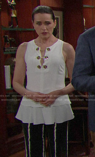 Quinn's white toggle neck top on The Bold and the Beautiful