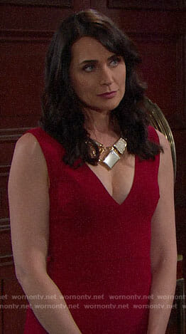 Quinn's red jumpsuit and statement necklace on The Bold and the Beautiful