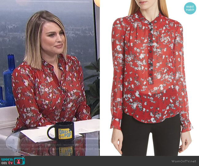 'Susan' Floral Print Silk Blouse by Rag & Bone worn by Carissa Loethen Culiner on E! News