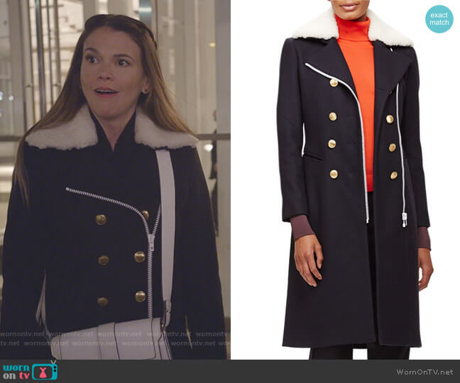 Sullivan Double-Breasted Coat w Shearling Collar by Rag & Bone worn by Sutton Foster on Younger