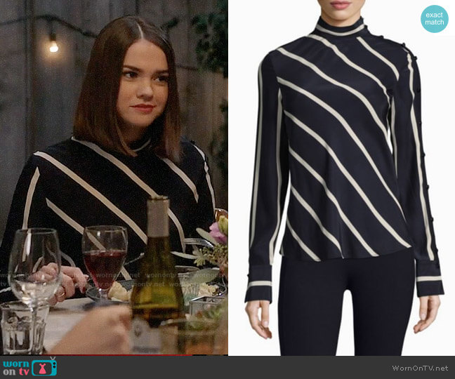 Rag & Bone Bretton Striped Silk Top worn by Maia Mitchell on The Fosters