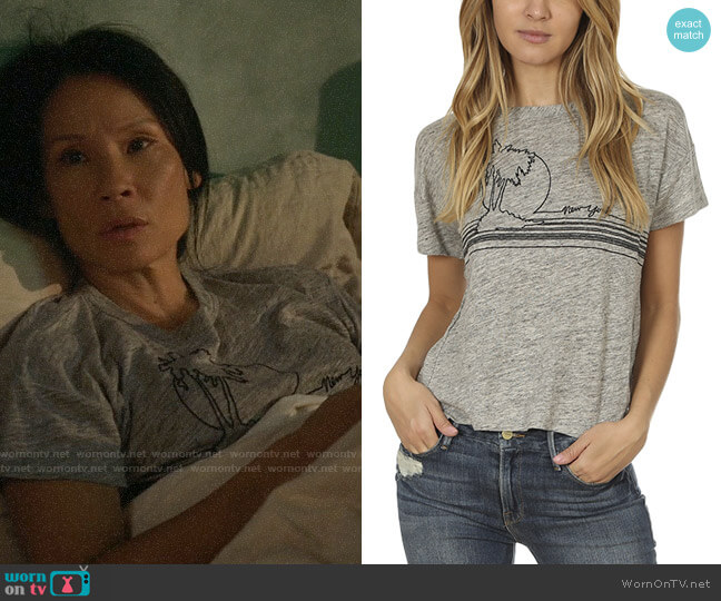 Rag & Bone Palm Embroidered Linen Tee worn by Joan Watson (Lucy Liu) on Elementary