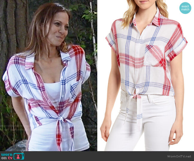 Rails Amelie Shirt in Carmine Blue White worn by Tamara Braun on General Hospital