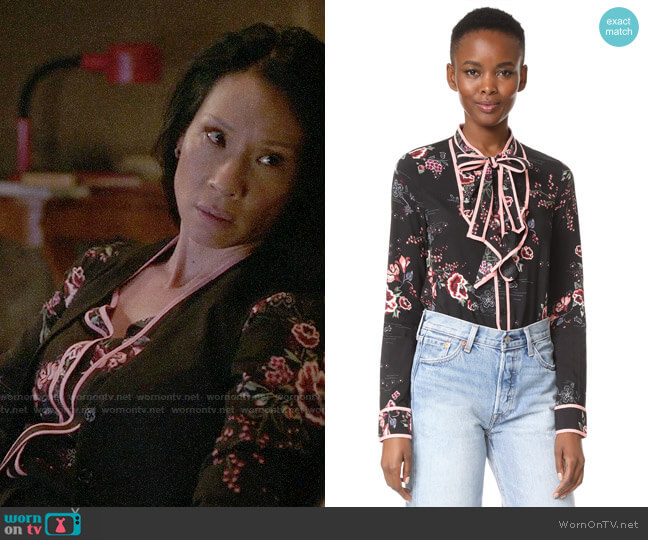 re:named Floral Tie Neck Blouse worn by Lucy Liu on Elementary