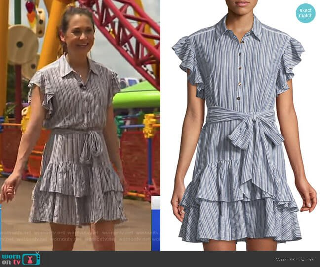 Flutter-Sleeve Striped Shirtdress by Rebecca Taylor worn by Ginger Zee  on Good Morning America