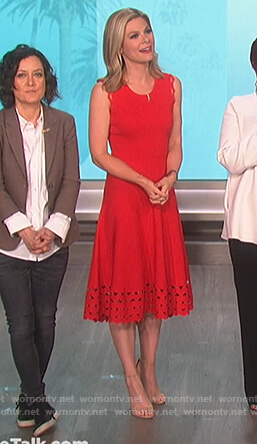 Jessica Dean's red eyelet dress on The Talk