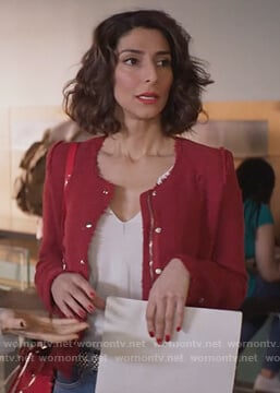 Delia's red tweed jacket and striped denim jeans on Girlfriends Guide to Divorce