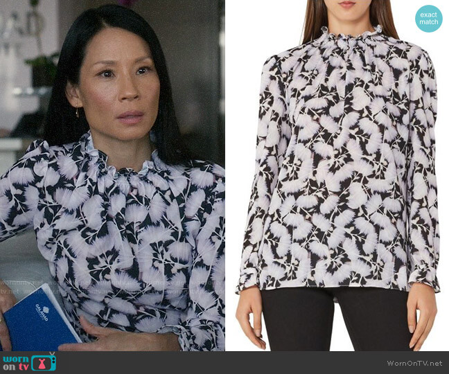 Reiss Botanical-Print Back-Button Top worn by Joan Watson (Lucy Liu) on Elementary