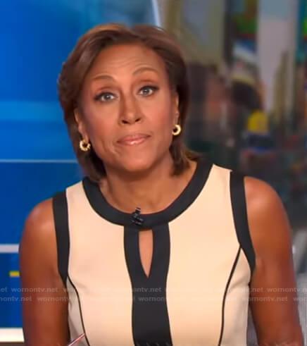 Robin's beige and black keyhole dress on Good Morning America