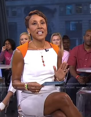 Robin's orange and white colorblock dress on Good Morning America