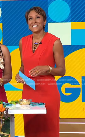 Robin's orange v-neck dress on Good Morning America