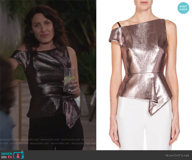 Asymmetric One-Shoulder Peplum Top by Roland Mouret worn by Lisa Edelstein on GG2D