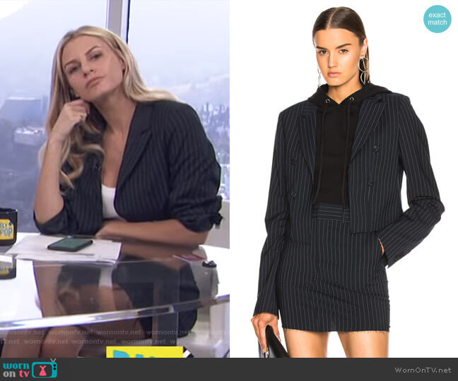 'Cara' blazer and 'Callie' Skirt by RTA worn by Morgan Stewart  on E! News