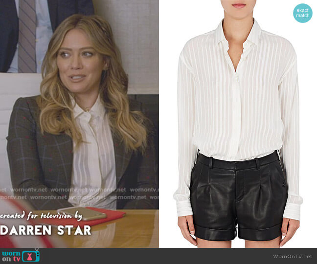 Striped Silk-Blend Georgette Blouse by Saint Laurent worn by Kelsey Peters (Hilary Duff) on Younger