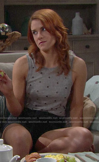 Sally's grey gommet studded tank top on The Bold and the Beautiful