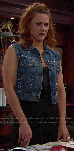 Sally's studded denim vest on The Bold and the Beautiful
