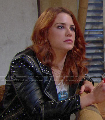 Sally's studded leather jacket on The Bold and the Beautiful