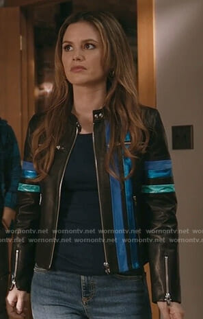 Sam's black striped leather racer jacket on Take Two