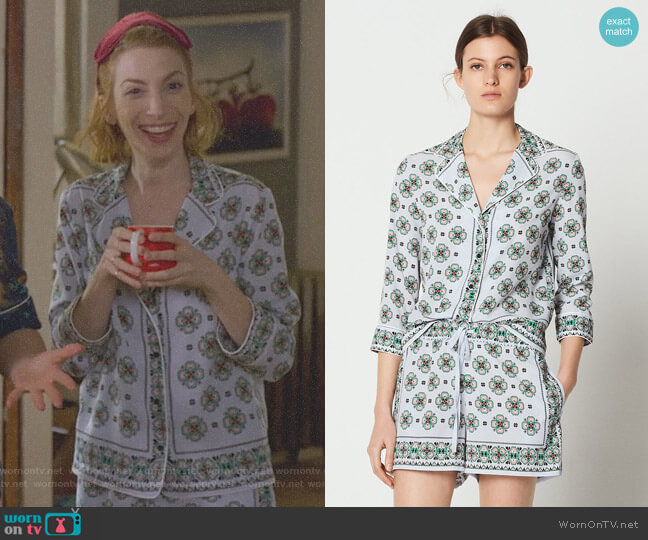 Bleu Ciel Print Shirt and Drawstring Print Shorts by Sandro worn by Lauren (Molly Bernard) on Younger