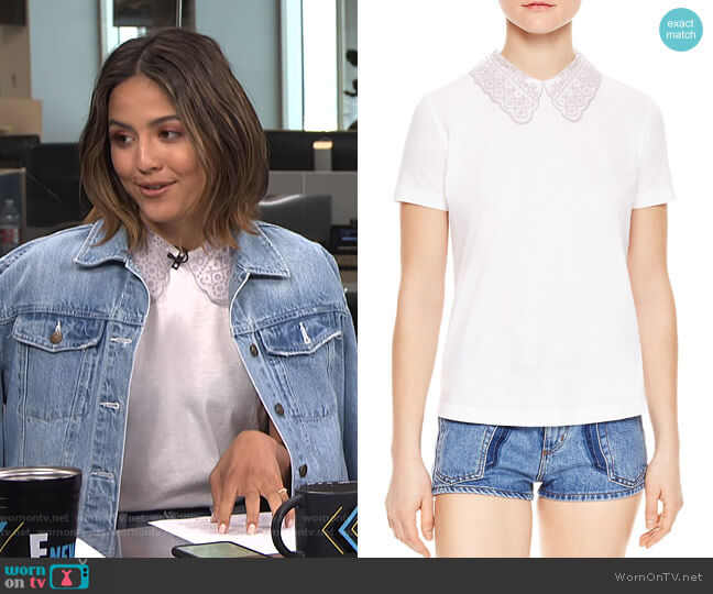Rare Lace Collar Keyhole Tee by Sandro worn by Erin Lim  on E! News